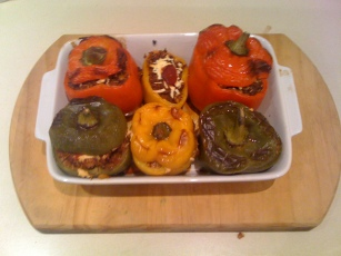 Stuffed Capsicum - after cooking in the oven