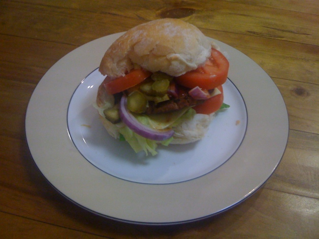 Lamb and veal burger - the finished product tasted even better than it looked!